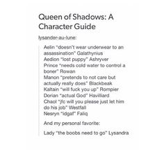 The Queen of Shadows guide to characters, pardon the language