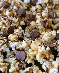 This sweet popcorn snack is perfect for movie night or game day. Get the turtle Chex mix and throw in a bag of mini reeses pb cups. I promise you will think you have died and gone to Heaven