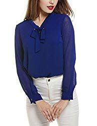 Acevog Womens Bow Tie Neck Long/Short Sleeve Casual Office Work Chiffon Blouse S Women Bow Tie, Tie Front Blouse, Work Blouse, Formal Shirts, Shirt Blouses, Chiffon Blouses, Clothes For Women, Sleeves