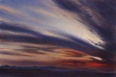 Sunset on Mynydd Hiraethog, an original watercolour painting by Rob Piercy