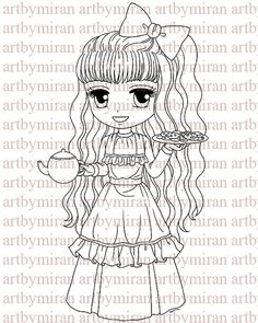 Digital StampAny One For Tea Digi Stamp Coloring by artbymiran, $3.00
