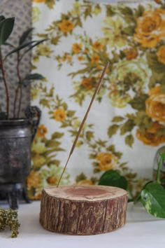 DIY Wood Stump Incense Holder