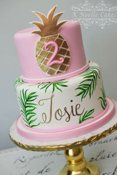 Gold Pineapple Luau theme birthday cake by K Noelle Cakes