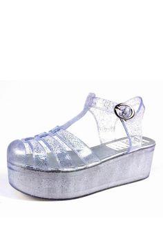 Silver Glitter Jelly Flatform Sandals on Glamorous