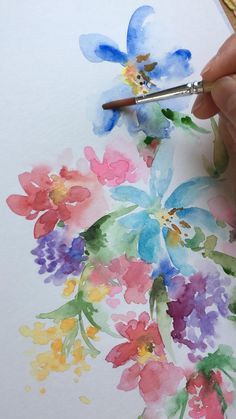 Loose watercolor florals, Colorful and vibrant watercolor flowers, Process time lapse video. Photo of finished painting can be viewed in my account.