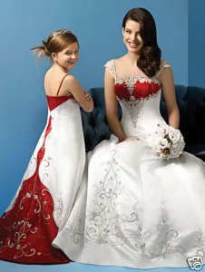 crimson and white wedding dresses