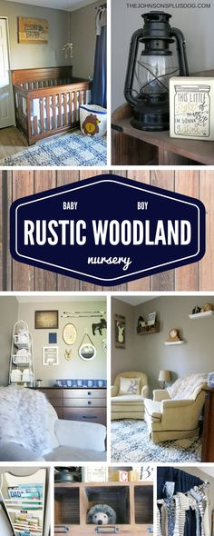 Baby Boy Nursery | Rustic Woodland Navy and Tan Baby Room | Baby Boy Rustic Woodland Nursery Inspiration | The Johnsons Plus Dog