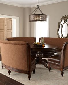 "-3DNV Massoud ""Marie"" Dining Table & ""Hudson"" Banquette"