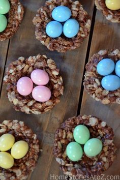 Peanut Butter Chocolate Rice Krispies Nests: These tiny Rice Krispies nests make a great addition to your holiday dessert table.Click through to discover more Easter desserts to make this spring.