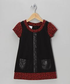 Take a look at this Red Leopard Leather Pocket Dress - Girls by Samara on #zulily today!