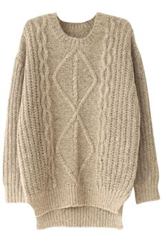 Fashion Street Cable Knit Sweater with High-Low. This long-sleeved sweater will be topping our must-have list as soon as the cooler weather rolls in. It features high low detailing,round neck, long sleeves,ribbed trim. We're taking this super-warm piece Warm Sweaters, Cable Knit Sweaters, Sweaters For Women, Long Sleeve Sweater, High Low, Cardigans, Women's Fashion, Street Style, Pullover