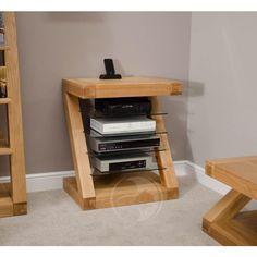 Z Shape Solid Oak HIFI Unit | Oak Furniture UK