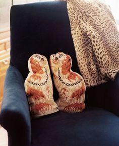 Needlepoint Staffordshire Spaniel pillows in Jessika Goranson's apartment