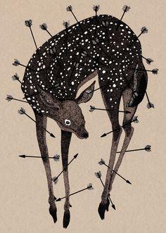 Inspiring and Delicate Wild Nature Illustrations – Fubiz Media Art Inspo, Kunst Inspo, Inspiration Art, Art And Illustration, Nature Illustrations, 1 Tattoo, Oh Deer, Wild Nature, Art Design