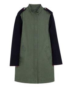 Longline Color Block Long Sleeves Coat