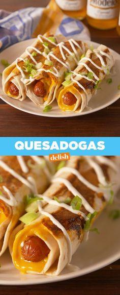 A quesadilla and a hot dog walk into a bar... Get the recipe from Delish.com.