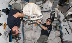 NASA astronaut Rick Mastracchio and Japan Aerospace Exploration Agency astronaut Koichi Wakata, Expedition 38 flight engineers, are pictured during Cygnus cargo spacecraft preparation in the Harmony node of the International Space Station.