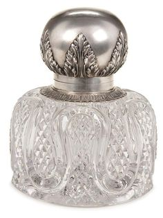 RUSSIAN FABERGE SILVER & CRYSTAL INKWELL