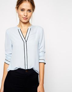 ASOS Long Sleeve Blouse with Contrast Piping - Perfect piece for any boydshape :) I've fallen for the piping detail on this one. http://asos.to/1qFlv2K