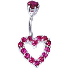 Sterling Silver 925 Siam Red Cubic Zirconia Timeless Heart Belly Ring | Body Candy Body Jewelry #bodycandy #piercings #bellyring