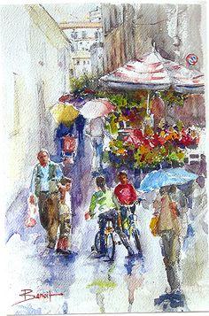 Diann Benoit - Amalfi Coast, Italy- Watercolor - Painting entry - January 2013 | BoldBrush Painting Competition