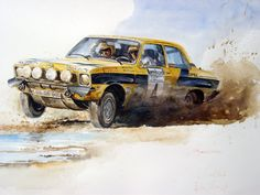 Opel Ascona A Aquarell, 60 x - Top-Trends Truck Design, Retro Ads, Car Drawings, Automotive Art, Rally Car, Cars And Motorcycles, Classic Cars, Automobile, Racing