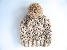 PATTERN:  Sesame Hat textured banded lacy pom pom hat easy crochet pattern PDF Size Adult/Teen InStAnT DoWnLoAd Permission to Sell #pompomhat #CrochetHat