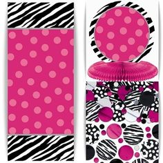 Hot pink is wildly popular for a contemporary baby shower!Serve up some contemporary safari fun at your baby shower celebration with our wild and vibrant Zebra Party Baby Shower theme!  Up-to-date tableware fashioned with zebra stripes in hot pink, black and white offer a fun approach to a modern day mom-to-be who appreciates a little of that fashionista flair!  An abundance of customizable decorating products like banners, centerpieces, and dangling cutouts with that Zebra Party to