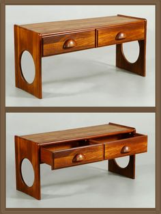 """EILSTRUP FURNITURE MODERN SIDEBOARD Mid century modern Eilstrup Furniture sideboard with cut out detail on sides, two sliding drawers, teak, 17 1/4"""" x 39 1/8"""" x 13 1/2"""". (SOLD) http://www.kaminskiauctions.com/servlet/Search.do?auctionId=51&itemId=29851"""