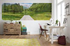 Decorar con un mural panorámico lago verde  #decoracion #decoraciondeinteriores #newcollection  https://www.papelpintadoonline.com/es/fotomurales-komar/31078-fotomural-lago-naturaleza-green-lake-4-538.html
