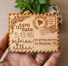 Save the date save the date magnet rustic save the date etsy wedding свадьб Wood Burning Crafts, Wood Burning Art, Wood Crafts, Diy And Crafts, Laser Cutter Ideas, Laser Cutter Projects, Cnc Projects, Rustic Save The Dates, Wedding Save The Dates