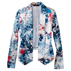 Mossimo Womens Printed Sateen Blazer Jacket