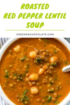A healthy vegetarian soup filled with lentils, roasted red peppers, garbanzo beans, and spinach. #pepperlentilsoup #redpeppersoup #lentilsoup #lunch #soup | greensnchocolate.com @greenschocolate