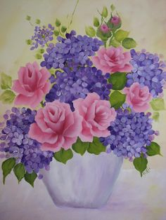 hydrangea painting on canvas | Hand Painted Canvas Pink Roses, Purple Hydrangeas Flower Pot Painting
