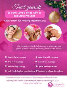 Christmas with Abundantia Holistic Therapies  reservations@abundantiaholistictherapies.co.uk