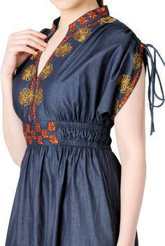 "Denim Chambray Cotton Dresses, Floral Graphic Embellished Boho Dresses ""Shop women's fashion dresses 