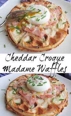 breakfast waffles This is sure to become a brunch favorite. A ham and cheddar waffle is topped with a creamy Dijon bechamel. A bit more ham, cheese and a perfectly poached egg are perched on top for a fun brunch style twist on the classic French sandwich. Breakfast Waffles, Breakfast Dishes, Breakfast Time, Best Breakfast, Breakfast Recipes, Savory Waffles, Breakfast Ideas, Mexican Breakfast, Pancake Recipes