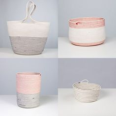 dougjohnstonwork. Inspiring, these simple and striking vessels and baskets are sewn of white cotton rope, with the colored zig zag stitching the only ornamentation. The esthetic it could be adapted to crochet by using a following thread as one stitches simple round shapes in SC or HDC. I might even try the rope and a large hook.