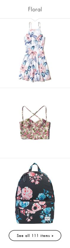 """""""Floral"""" by alltimegabi ❤ liked on Polyvore featuring dresses, vestidos, white floral, white fit and flare dress, white skater dress, open back dresses, skater dress, floral print skater dress, tops and shirts"""
