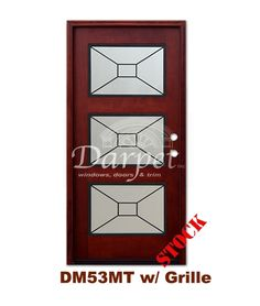 DM53MT 3 Lite Contemporary Exterior Wood Mahogany Door with grille | Darpet Interior Doors for Chicago