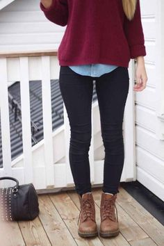 layer a short sweater over a long white or denim shirt