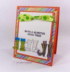 Have a Monster Good Time! by @debbiemom23cs for @therubbercafe #creativecafe #card #stamping