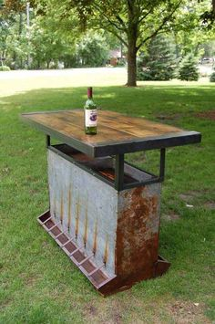 Upcycle, old chicken feeder turned backyard bar. Maybe use pallet wood for top to keep this totally recycled materials. Vintage Industrial Furniture, Repurposed Furniture, Diy Furniture, Bedroom Furniture, Rustic Furniture, Contemporary Furniture, Antique Furniture, Furniture Websites, Furniture Movers