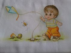 Creative Z . Baby Painting, Fabric Painting, Ribbon Embroidery, Embroidery Patterns, Brother Innovis, Decoupage Tutorial, Baby Coat, Boy Pictures, Patch Quilt