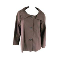MARNI Size L Brown Cotton Shift Collar A Line Jacket