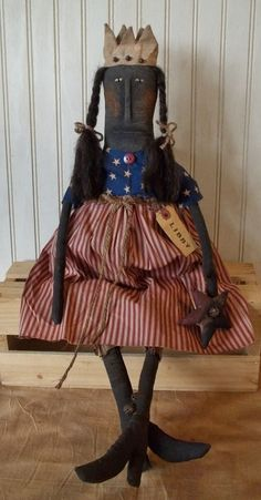 "Primitive Grungy ""Libby"" Black Lady Liberty Americana Doll & Her Patriotic Star #Primitive"