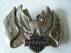 Harley Davidson Solid Brass Belt Buckle Vintage 1983 Eagle Rare.  CeintureBoucles ... 3cfb096ffb7