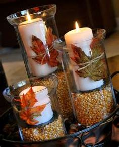 Hurricanes filled with dried corn under candles - could also use peas, beans, lentils, candy corn, acorns, etc.
