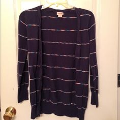 Mossimo navy cardigan sweater Mossimo size L navy striped cardigan. The stripes are a peachy/teal color. Pic2 is a closeup of it. Runs small though for a L I would say more like a M Mossimo Supply Co Sweaters Cardigans