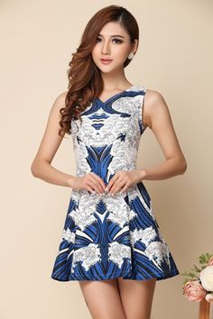 Vintage Printed A-line Dress in Blue [DLN0145] - PersunMall.com